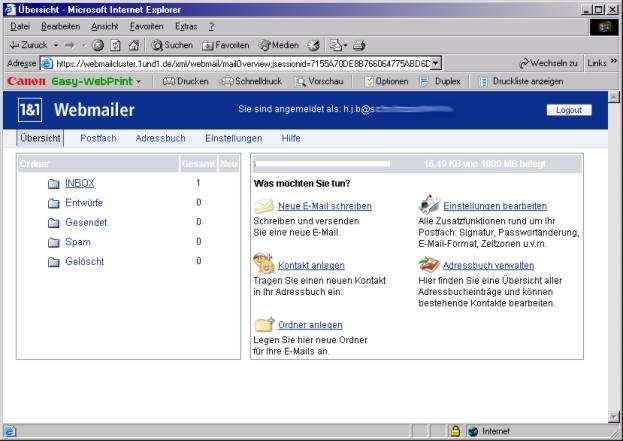 Webmailer bei 1...